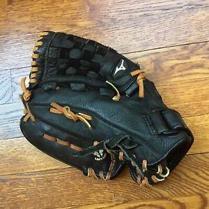 "MIZUNO Youth Black Leather MVP GPL1150D2 LEFT Hand Throw Baseball Glove 11.5"""
