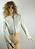 Andrea Rosati White Stretch Leather Strips Cropped Zip Jacket Women's Size Small
