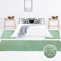 Shaggy Läufer Bettumrandung Hochflor-Teppich Pastellfarbe Einfarbig Bettvorleger