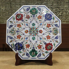 Marble Tile Inlay Pietra Dura White Stoneware Handmade Art Craft Home Decor gift