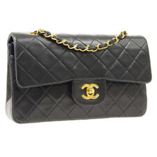CHANEL Quilted Classic Double Flap Chain Shoulder Bag Black 1688252 AK43432