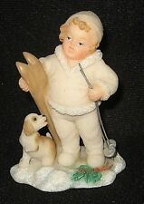 Vintage 1997 Mistletots by Roman Inc-Boy Dressed for Winter with Skis and Dog