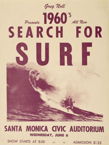 1960 SEARCH FOR SURF METAL TIN SIGN POSTER WALL PLAQUE