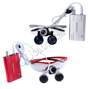 Dental Medical Magnifier Binocular Loupes 3.5X LED Head Light Lamp Red/Silver