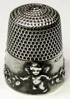 "Antique Simons Bros. Sterling Silver Thimble  ""Cupid""  ""AMP"" Mngm    Dated 1905"
