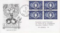 United Nations NY1 - Enveloppe 1er jour 1952 Human Rights - Airmail 5c