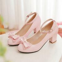 Lolita Womens Bowknot Mary Janes Ankle Strap Pumps Chunky Block Heel Shoes US