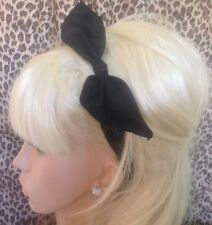 PLAIN BLACK FABRIC HAIR BAND HEAD WRAP REMOVABLE BOW PRE TIE DETAIL 50s RETRO