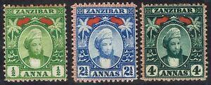 ZANZIBAR 1896 SULTAN 1/2A 21/2A AND 4A WMK SINGLE ROSETTE