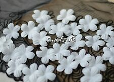25pcs White Fabric Faux Silk Flowers Applique Patch Sew on Wedding decoration