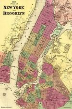 NEW YORK & BROOKLYN - VINTAGE 1868 MAP POSTER 24x36 - NYC 10880