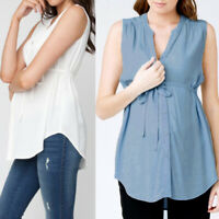 Maternity Womens Tops Baggy Sleeveless V Neck Casual Button Down Shirt Blouses