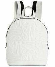 Steve Madden Gale Pebble Leather Logo Bag Quilted Backpack White /silver