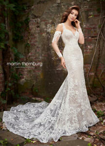 Martin Thornburg Sz 14 Style #119254 Ivory Nude Lace Fitted Wedding Gown Bridal