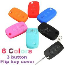 For Audi A2 A3 A4 A6 A8 6-Color Silicone 3 Button Flip Remote Key Fob Case Cover
