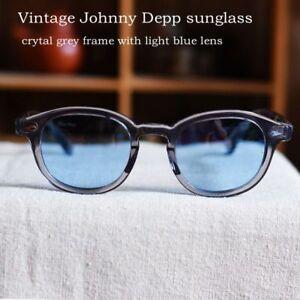 Retro Johnny Depp acetate sunglasses hipster mens gray glasses frame blue lenses