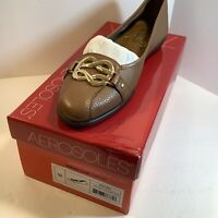 Aerosoles Womens High Bet Dk. Tan With Gold Buckle Flats Slip on Shoes Size 9M