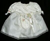 Girls Toddler Formal Dress Sz 0 Vtg Christening Satin Baptism Gown Chiffon Ivory
