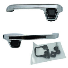 Outside Door Handles Pair - Front Left Driver + Right Passenger - Chrome Metal