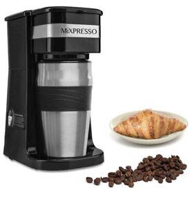 Mixpresso 2-In-1 Single Cup Coffee Maker & 14oz Travel Mug Combo
