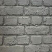 Paper Wallpaper rolls 3D wallcoverings gray modern faux brick optical realistic