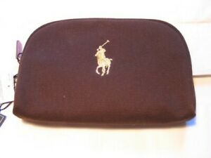Ralph Lauren small brown canvas cosmetic case / bag