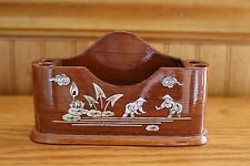 Vietnam wooden desk pencil/pen and note or business card holder