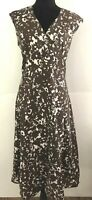 David Lawrence Women's size 16 Dress Brown and White Sleeveless Empire Waist