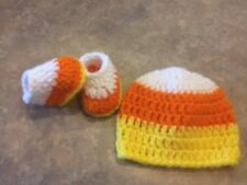 Crochet newborn - 3 month Candy Corn Hat & Booties Fall Photo Prop Baby Gift