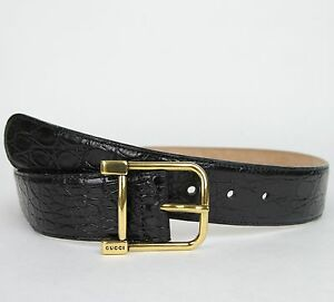 New Gucci Womens Black Crocodile Belt w/Gold Square Buckle 257319 E7I0T 1000