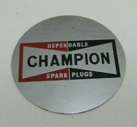CHAMPION DEPENDABLE SPARK PLUGS Mirrored Sign Advertising Nameplate Gas Oil Ad