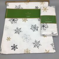 5pc Kate Spade Snowflake Table Runner 4 Napkin Set Christmas Holiday Silver Gold