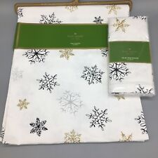 5pc Kate Spade Snowflake Table Runner 4 Napkin Set Holiday Christmas Silver Gold