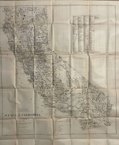 Rare State Of California 1876 Antique US Land Office Map 33X43 AS IS