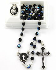 NEW MADE IN ITALY BOY'S BLACK GLASS ROSARY FIRST HOLY COMMUNION GIFT SET