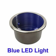 1 NEW STAINLESS STEEL CUP DRINK HOLDER WITH BLUE LED LIGHT MARINE BOAT RV CAMPER