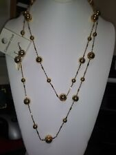 NWT Coldwater Creek Gold Diamond Accent Beaded Necklace With Matching Earrings