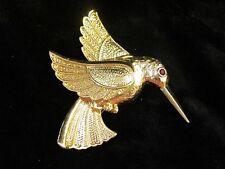 Beautiful Gold Tone Hummingbird Bird Brooch Pin ~ Red Rhinestone Eye