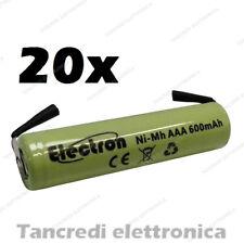 20 Pila Batteria Ministilo AAA 600mAh ricaricabile NiMh lamelle a saldare 500mAh
