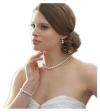 Hochzeit Set Schmuckset Kette Armband Ohrringe Perlen Weiß Kristall Transparent