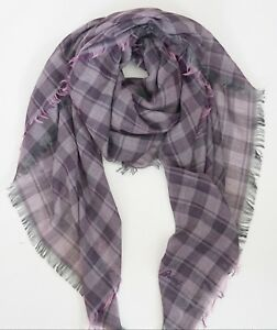 NWOT Authentic BRIONI Purple Check 100% COTTON Oversized Scarf Shawl Pashmina