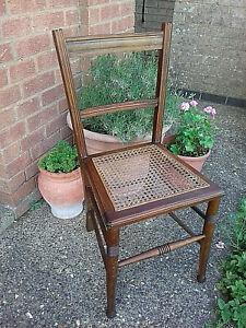 Edwardian Pretty Cane Seat Bedroom/Landing Chair Home Furnishings