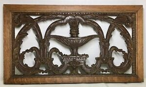 """Antique Hand Carved Oak Wood Reclaimed Architectural Panel-16"""" x 9"""""""