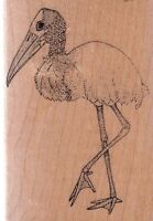 """stork mostly animals Wood Mounted Rubber Stamp 2 1/2 x 3 1/2"""" Free Shipping"""