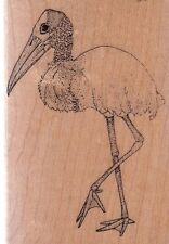 "stork mostly animals Wood Mounted Rubber Stamp 2 1/2 x 3 1/2"" Free Shipping"