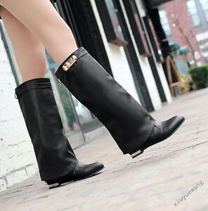 Womens Low Block Heel Suede Pull on Knee High Boots Combat Ridding Boots Shoes