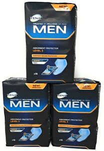 Tena Men Level 3 Absorbent Protector 3 Packs of 16 (48 Total) Incontinence Pads