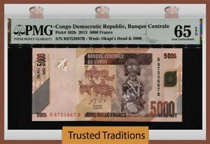 TT PK 102b 2013 CONGO DEMOCRATIC REPUBLIC 5000 FRANCS PMG 65 EPQ GEM UNC.