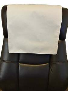 "White Ostrich Recliner, 14"" x 30"" Head Rest Cover Vinyl Sofa seat Chaise"