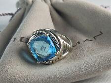 David Yurman Sterling Silver Blue Topaz Infinity Ring,  size 6